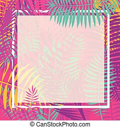Tropical Palm Leaf Border Vector.