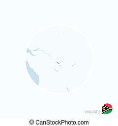 Map icon of Vanuatu. Blue map of Oceania with highlighted Vanuatu in red color.