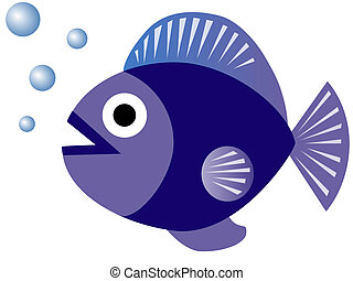 Chubby Blue Fish Blowing Bubbles - Cute Blue Fish Blowing...