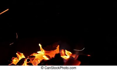 Fire in the night on black background. Bokeh from the fire...