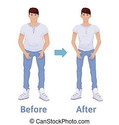 Young man before and after diet and fitness. Weight loss. Fat and thin man, body transformation. Vector illustration, isolated on white