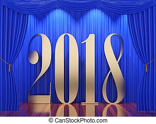 New year 20183d rendering of 2018 on stage - New year...