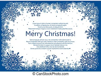 Blue Christmas frame with snowflakes isolated on white...