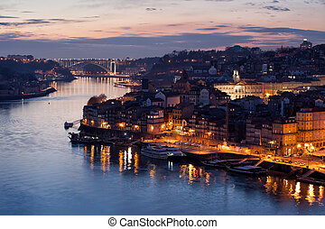 City of Porto in Portugal at Dusk