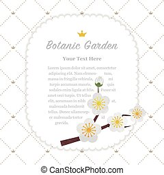 Colorful watercolor texture vector nature botanic garden memo frame white plum blossom