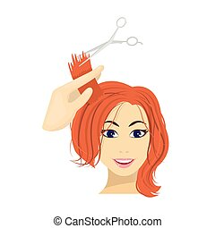 Hair cutting with scissors. Womens haircut single icon in cartoon style vector symbol stock illustration web.