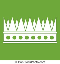 Regal crown icon green - Regal crown icon white isolated on...