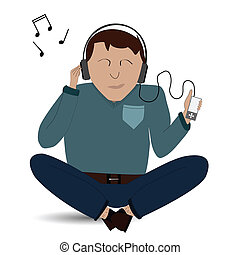 Guy with headphones - Vector of man listening to his music...