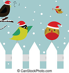 Christmas birds - Vector christmas scene with two birds...