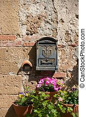 the retro letter-box - retro  letter-box on a wall