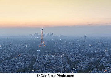 Beautiful panoramic aerial view of Paris and Eiffel tower at...