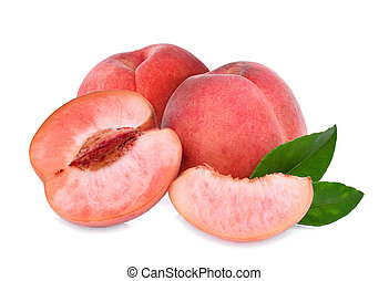 whole and half of peach with green leaves isolated on the white background