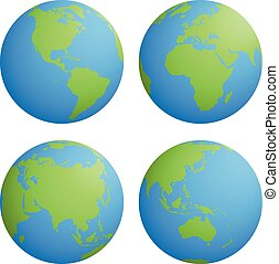 Set of four planet Earth globes with green land silhouette map on blue water background. 3D Vector illustration
