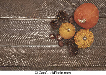 Beautiful natural composition on the wooden table