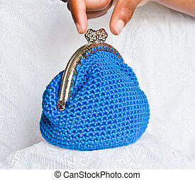 Handmade crochet purse with cotton thread in blue color