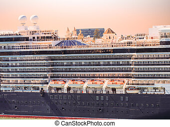 Lifeboats and Decsks on Classic Old Cruise Ship in Cadiz