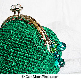 Handmade crochet purse with cotton thread in green color