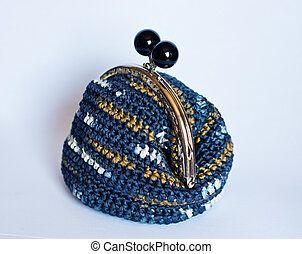 Handmade crochet purse with cotton thread in  blue melange color