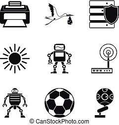 Cyber prosthesis icons set, simple style - Cyber prosthesis...