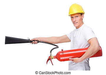 Man with extinguisher - Full isolated studio picture from a...