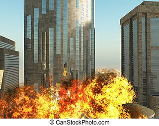 bomb blast in the city 3D rendering - bomb blast in the city