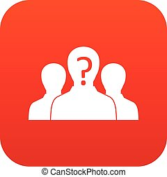 Group of people with unknown personality icon digital red