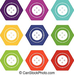 Button for clothing icon set color hexahedron