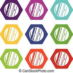 Round sewn button icon set color hexahedron - Round sewn...