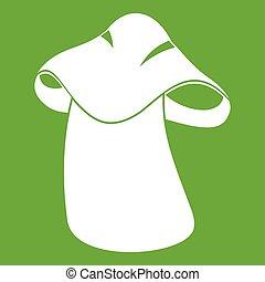Boletus icon green - Boletus icon white isolated on green...