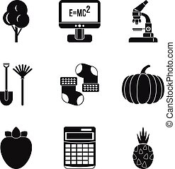 Microcosm icons set, simple style - Microcosm icons set....