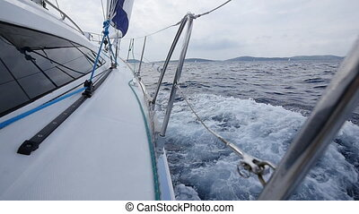 Navigation on the background of the sea in Greece. Regatta....