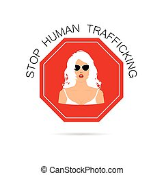 stop human trafficking sign with woman on it illustration -...