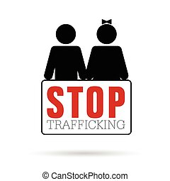 stop trafficking with children icon illustration - stop...