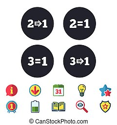 Special offer icons. Take two pay for one sign. - Special...