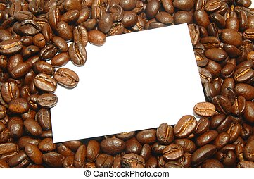 coffee beans - blank and empty shit paper between coffee...