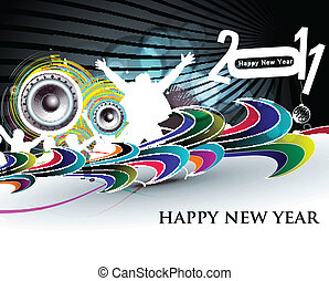 new year 2011 - abstract new year 2011 night party design....
