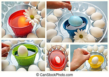 Collage of Coloring Easter Eggs