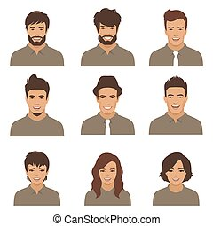 people faces. woman, man cartoon avatars