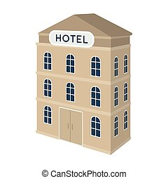Three-storey hotel. Architectural building of the hotel...