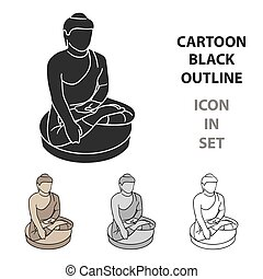 Sitting Buddha icon in cartoon style isolated on white...