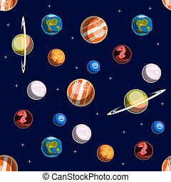 Space elements seamless pattern. Colorful vector...