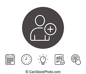 Add User line icon. Profile Avatar sign. Person silhouette...