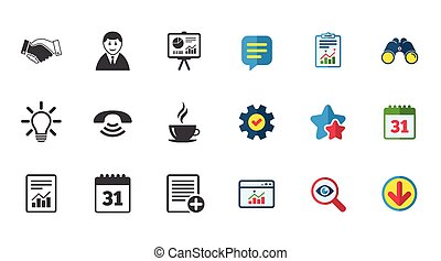 Office, documents and business icons. Businessman, handshake...