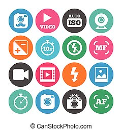 Set of Photo and Video icons. Camera sign.