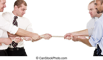 Tug of war - Tug-of-war with businessmen isolated on white...