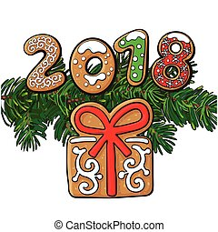 2018 Christmas greeting card, gingerbread cookie - 2018...