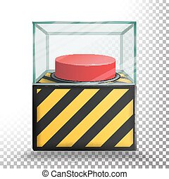 Panic Button Isolated Vector. Red Alarm Shiny Button....