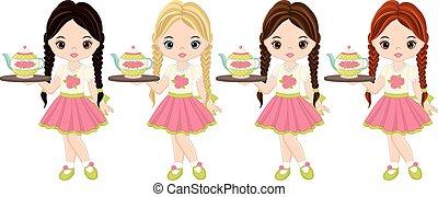 Vector Cute Little Girls with Tea Pot