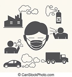 wearing mouth mask against air pollution. vector icons for...