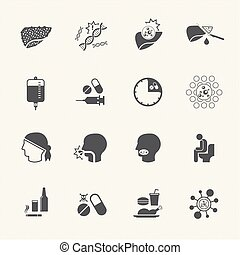 Liver cancer cause and treatment icons